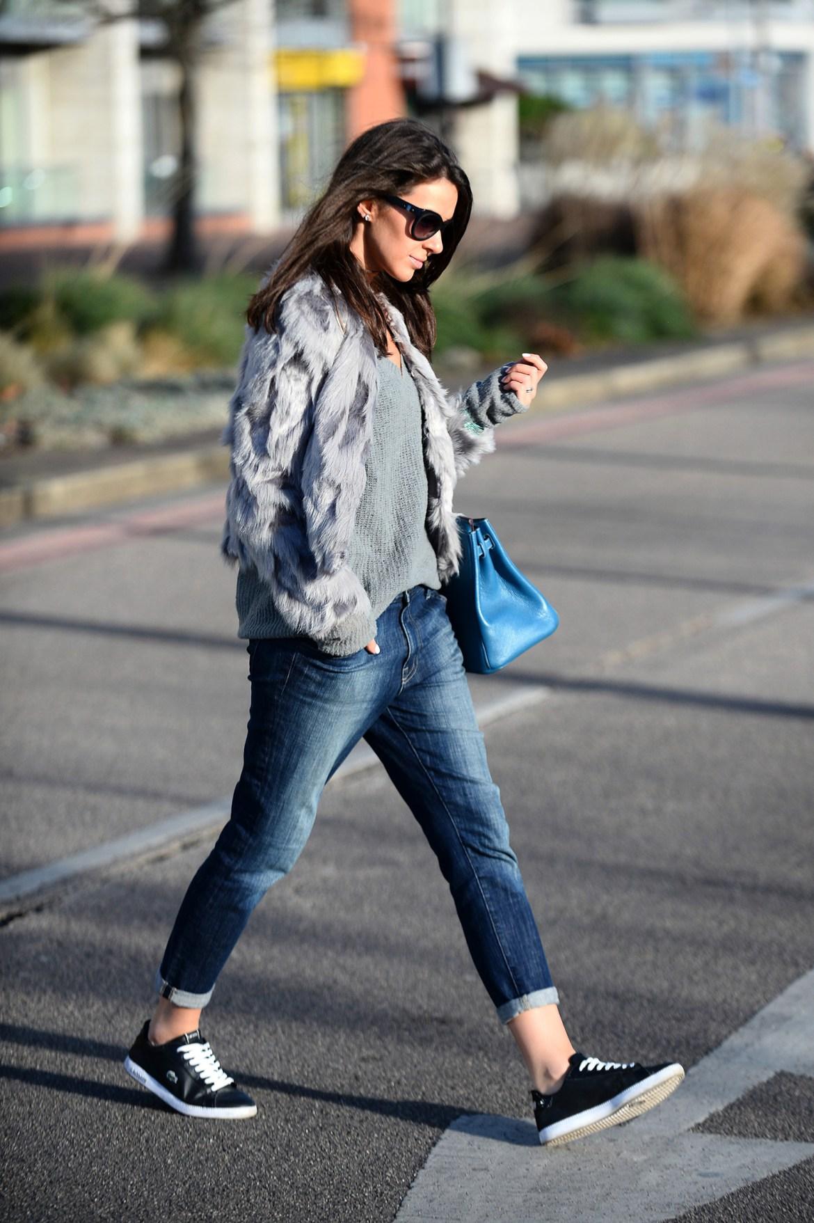 Faux Fur and Boyfriend Jeans - Julia Lundin