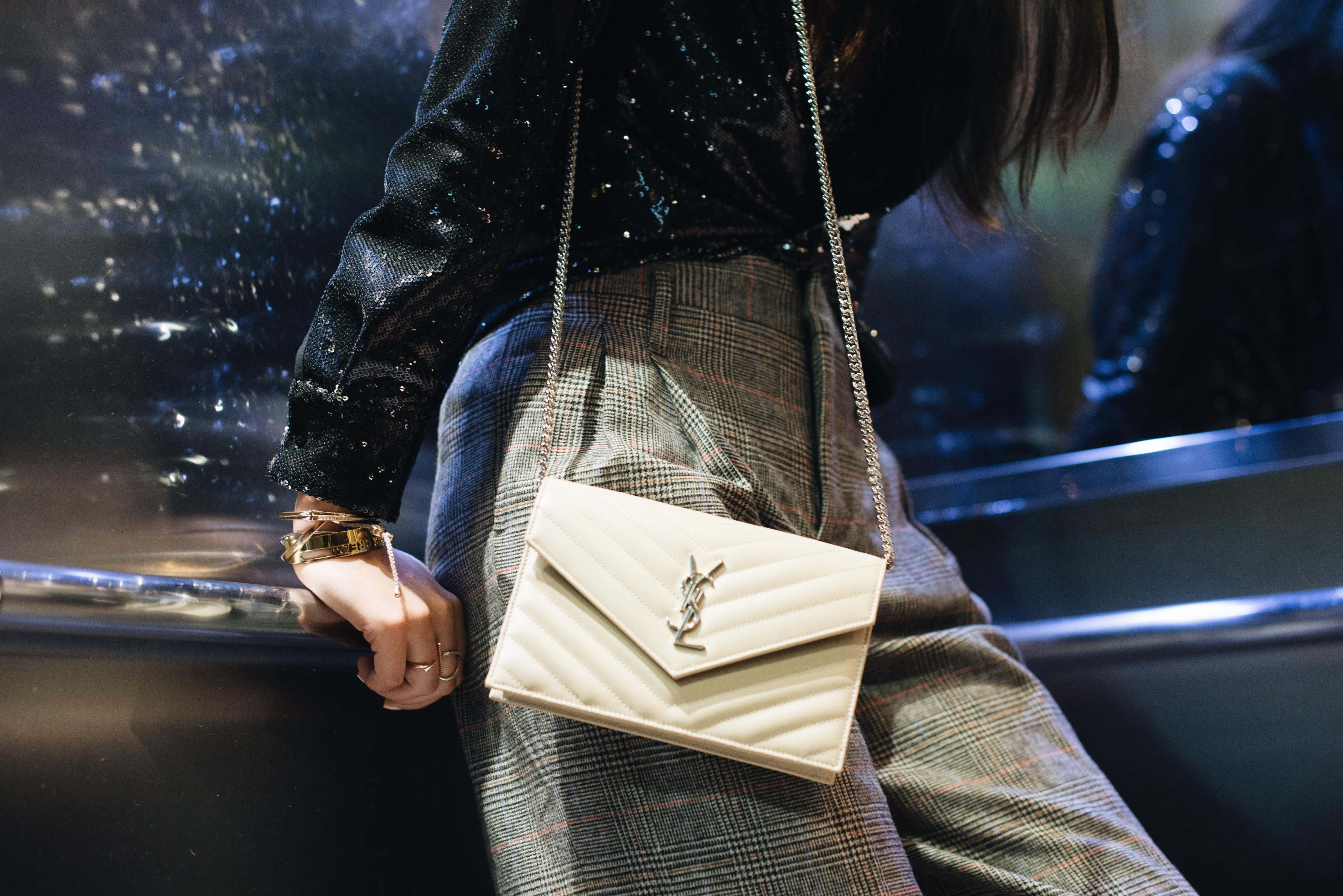 Wide pants and Saint Laurent bag