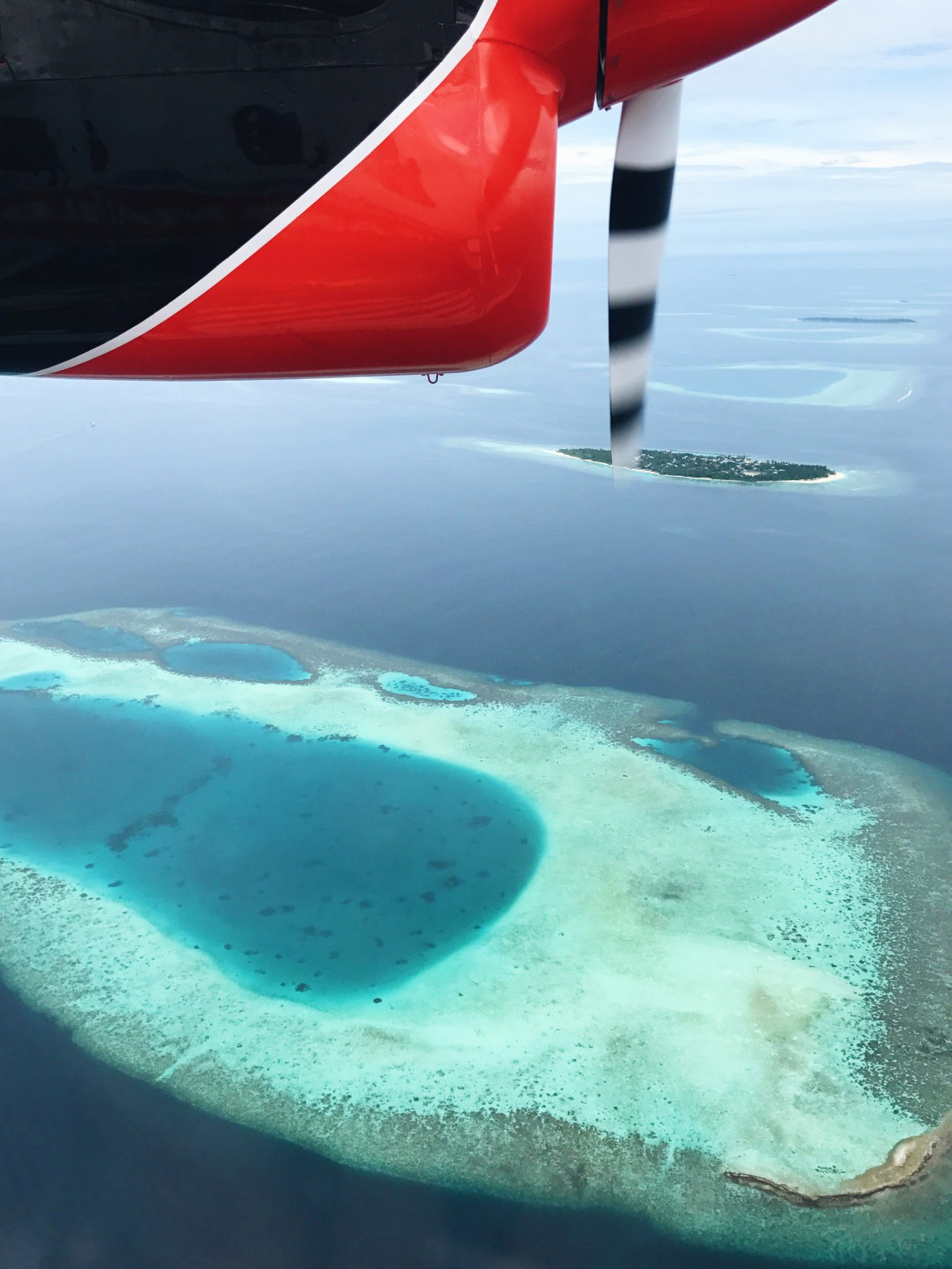 view of maldives from the seaplane