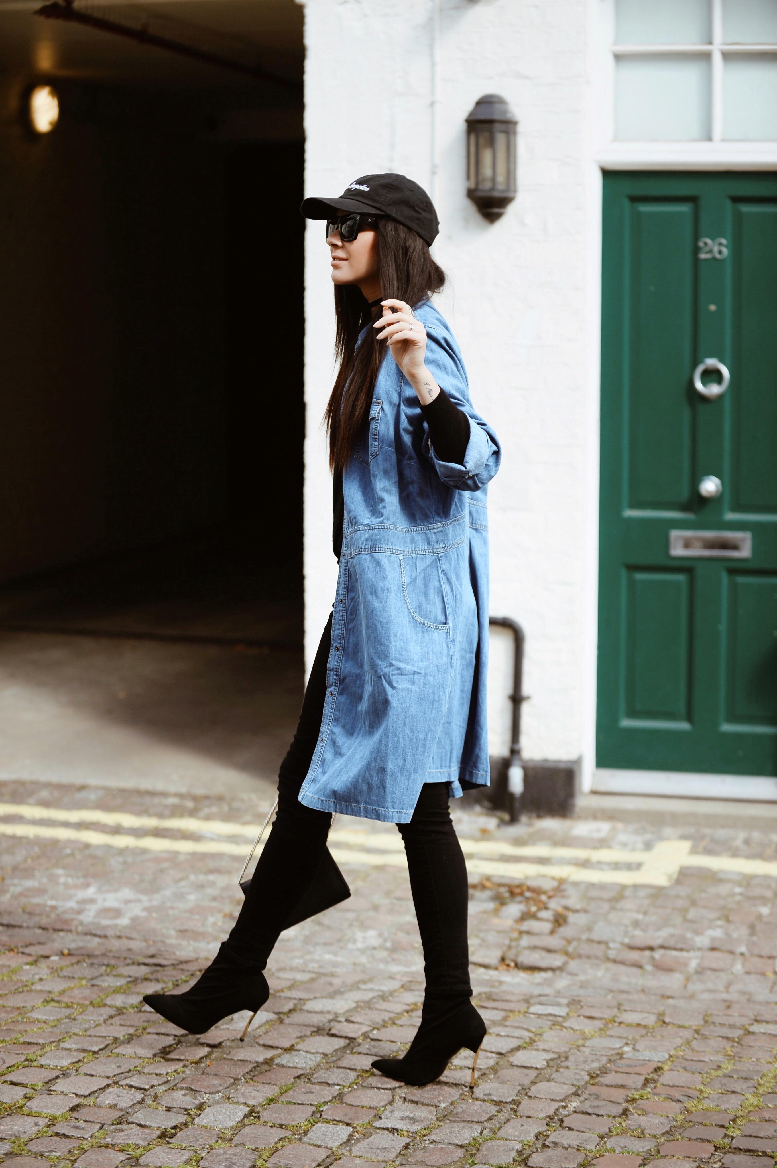 Heels, levi's jeans, denim jacket , cap and sunnies